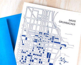 Men's Personalized Stationery, Personalized Stationary Chicago Blueprint Map, Groom Gift, Wedding Notes, Stationary for Men, Set of 10