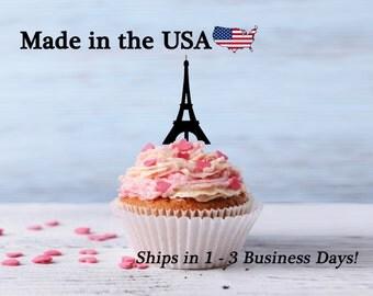 Paris Eiffel Tower Cupcake Toppers, Paris Topper, Eiffel Topper, Traveling Party, Wedding Decor, Paris Wedding, Paris Theme Party, LCT1033
