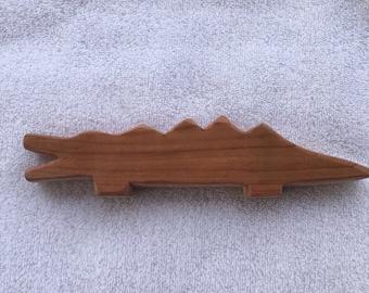 Handmade Wood Waldorf Alligator Child Toy
