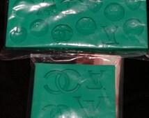 Designer Silicone Mold~Lv Logo mold~CC Logo Mold~Designer Logo Mold~ Soap mold~Sugar Craft