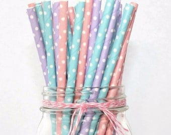 Set of 12 Polka Dot Paper Straws