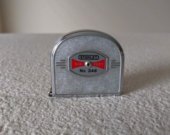 Vintage Stanley Tape Measure, 6 Ft. Long, #346, Silver Art Deco Style, Ca. 1940s