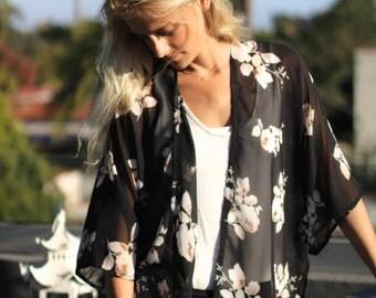 Black and White Rose Kimono