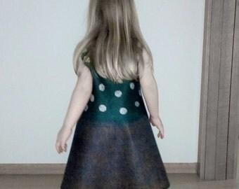 Felted baby dress Spring dress  Wool dress  Girls dresses  Dark gren dress