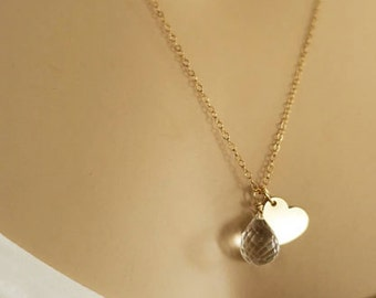 Crystal Drop Necklace Gold Heart Necklace Charm Bridesmaid Necklace Wedding Party Gift Jewelry Clear Necklace White Briolette Love Valentine