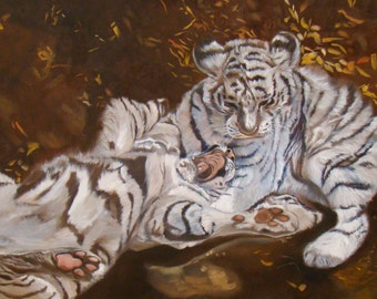 "White Tigers - Original Oil Painting - 19.3 × 11.8"""