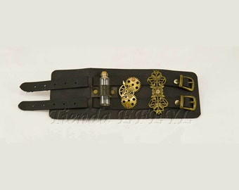 Steampunk leather bracer with metal ornaments, gears and potion 05