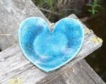 Raku fired heart shaped plate