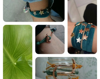 Camouflage green elastic bracelet