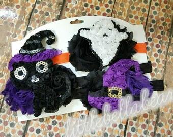 Happy Halloween  Headbands Cat / Ghost / Witch Hat set of 3