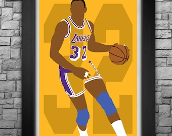 MAGIC JOHNSON minimalism style limited edition art print. Choose from 3 sizes!