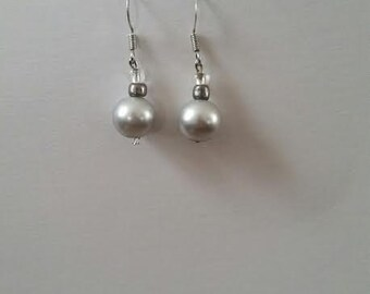 "Medium tone Gray ""Pearl"" drop earrings"