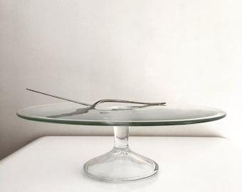 Glass cake dish/cake slice