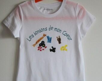 Child white illustration graphic T-shirt candy