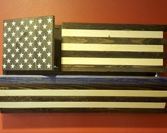 Thin Blue Line Gun Concealment Flag, LOCKING DUAL DOORS! Functional Stained Patriotic Art! Guaranteed Fathers Day Delivery!