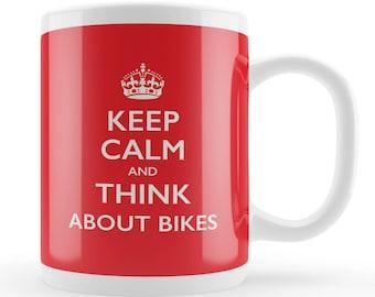 Motorbike gift mug, Keep Calm think about Bikes, bike lovers gift, funny motorbike birthday present, motorbike fan gift idea, Joke mug