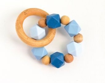 Silicone Organic Wooden Teething Ring, silicone chew bead teether, natural wooden bead teething toy, baby toy, wooden toy, baby gift
