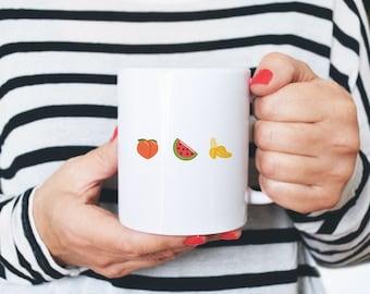 "Mug ""Fruit Salad Emoji"" Coffee mug with illustration"