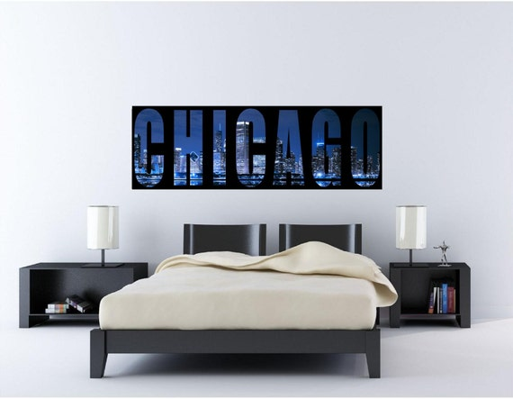Chicago skyline windy city panoramic wall by ookimskreationsoo for Good look chicago skyline wall decal