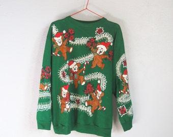 VINTAGE Cute Kitsch Colorful Green Christmas Jumper / Sweatshirt Teddy Bears Glitter - Size M
