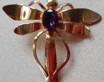 Vintage Dragonfly Gold Tone Brooch with Purple Stone