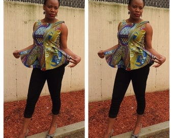 African print classy peplum top, african top, african clothing, african dress, african wedding dress, african outfit.