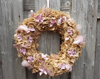 Jute patches wreath old pink