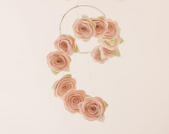 Items Similar To Felt Flower Hanging Crib Rose Mobile Baby