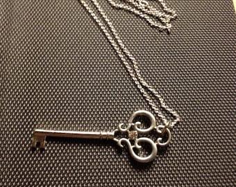 gem stone key necklace/Small gem pendant/Skeleton key.