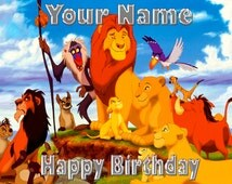 The Lion King Cake topper Size 1/4 Sheet  1/2 Sheet 1/3 Sheet Personalized Non Personalized  paper Frosting  Icing Cake Decoration