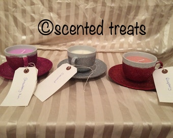 Tea cup and saucer candles