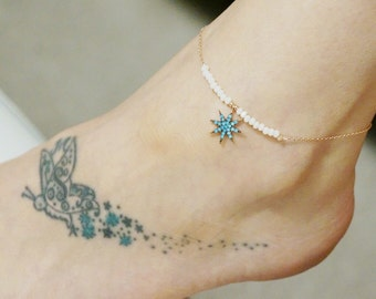 Ankle bracelet-pole star ankle bracelet-noth pole anklet-solid silver-natural stone-rose gold-white-zircon-turquoise