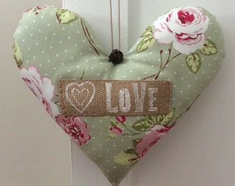 """Large Handmade Shabby Chic Hanging Fabric Heart Decoration ~ Clarke & Clarke English Rose Sage Green Fabric ~ With the Message """"Love"""""""
