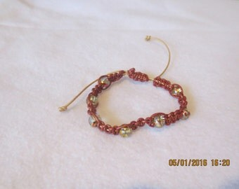 0101- Bronze & Gold Leather Bracelet with Glass Beads