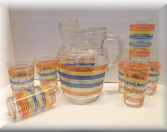 Vintage large 2 Qt. Pitcher and seven juice glasses