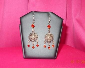 Handmade fire opal swarovski earrings