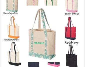 FREE SHIPPING Large Boat Tote embroidered