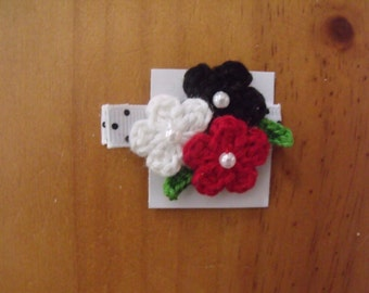 Handmade Boutique Double Prong Lined Alligator Hair Clip - Crochet Flowers - Red, White, Black w/polka dot ribbon