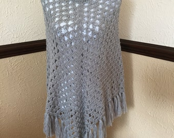 Beautiful Handmade Crocheted Grey Poncho Size 12-14