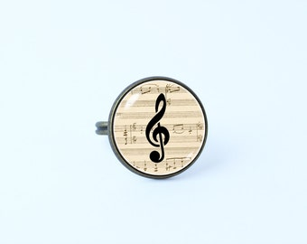 Sheet music ring Treble clef ring Gift for musician Music ring Treble clef jewelry Musical notes ring Music jewelry Music gift Music Lover