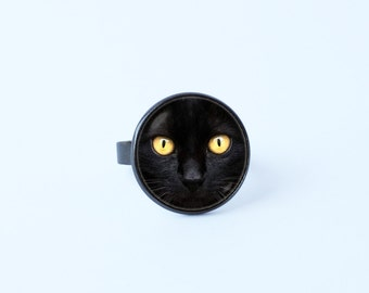 Black cat ring Cat gift Daughter gift Cat ring Cat jewelry Halloween ring Pet ring Halloween jewelry Pet jewelry Cat lover gift Black cats