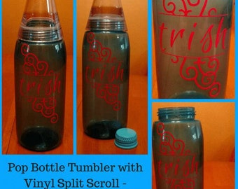 Personalized Pop Bottle Tumbler - Split Scroll with Your Name