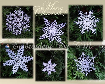 Lacy Snowflake-very delicate lace-+bonus, the design snowflakes pattern for embroidery on fabric