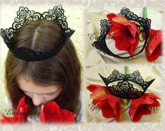 Black crown -very delicate lace-FSL-4x4 hoop