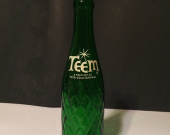 "Vintage 8 oz. Green Glass ""Teem"" A Lemon-Lime Soda Product Of Pepsi-Cola Company - I will NOT be relisting this item"