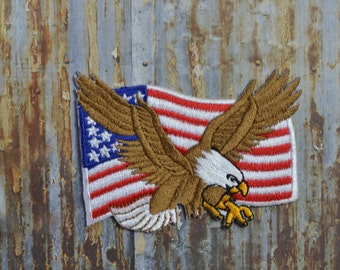 American Eagle Flag USA Iron On Sew On Patch Transfer