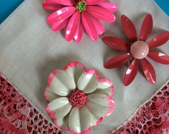 Vintage Enamel Flower Pins, Brooches, Set of three pink