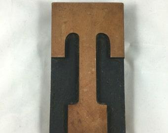Rustic antique wood block large letter T