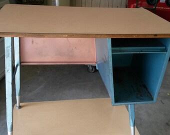 Vintage all steel school desks, Childrens desk, Student desk, All metal desk with neat original blue finish.