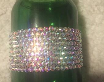 Hand Rhinestoned Green Glass Mason Jar